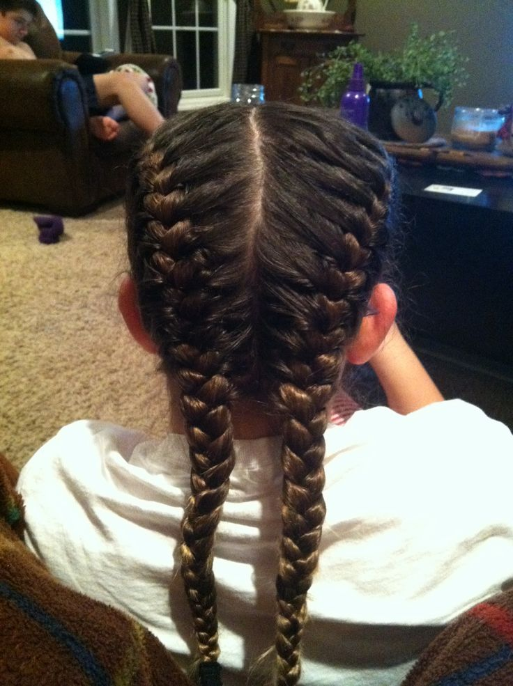 Double french braid hairstyles for kids pinterest