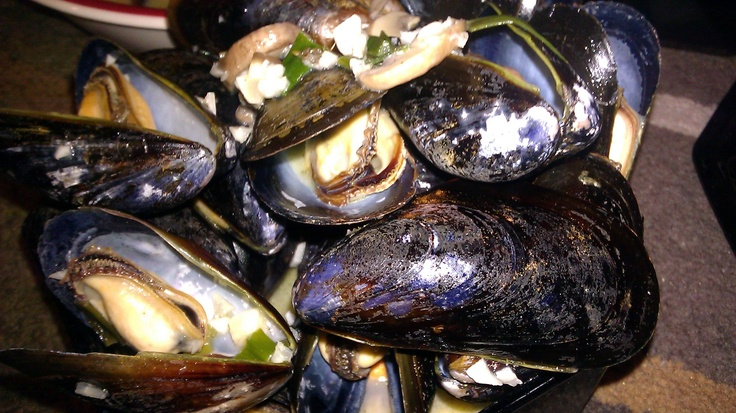 Steamed mussels in a white wine butter garlic sauce. Used 2 lbs of ...