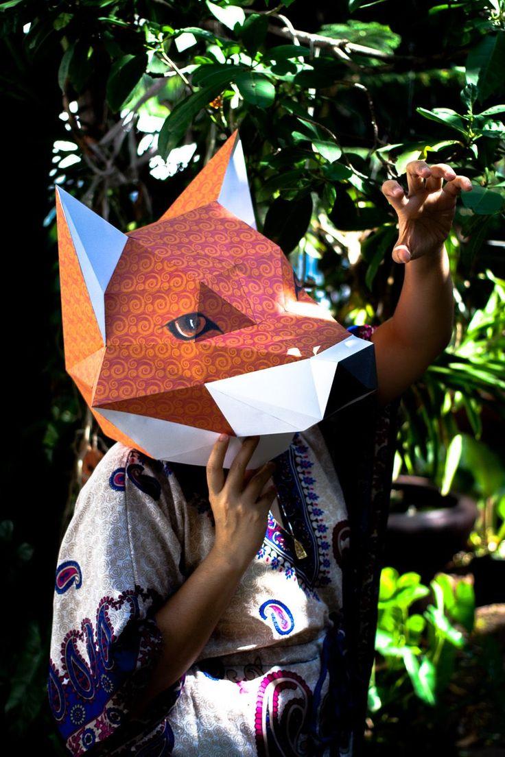 Паперкрафт схемы маска лисы 48