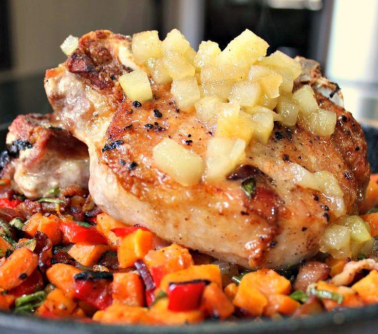 at it's finest: Pork Chops w/Bacon, Apple Butter & Sweet Potatoes