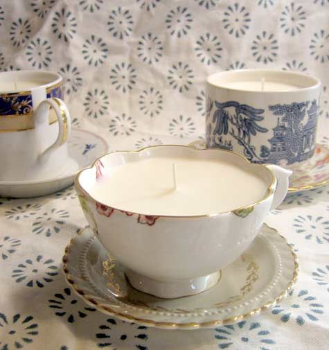 DIY teacup candles - great way to use old, chipped cups