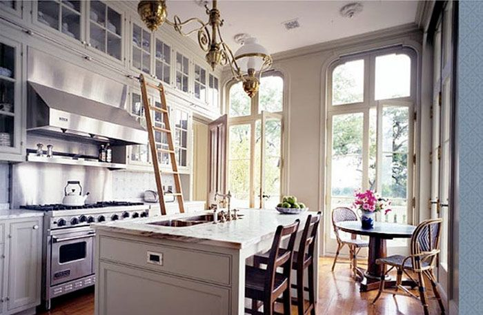 High Ceiling Kitchen W Rolling Ladder Home Decor