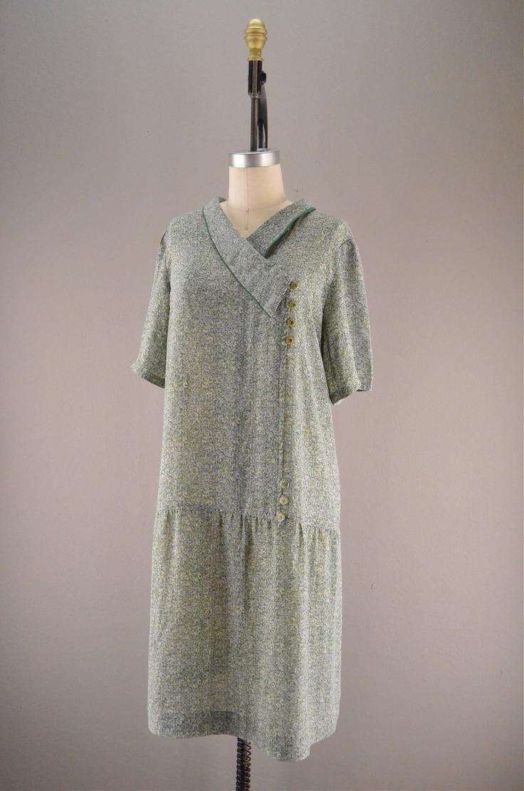 20s dropwaist floral dress vintage day dress 1920s
