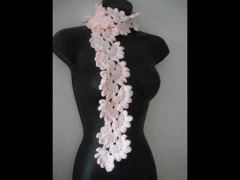 How To Crochet Ruffle Rose Scarf Free Pattern Tutorial For Beginners : Pinterest