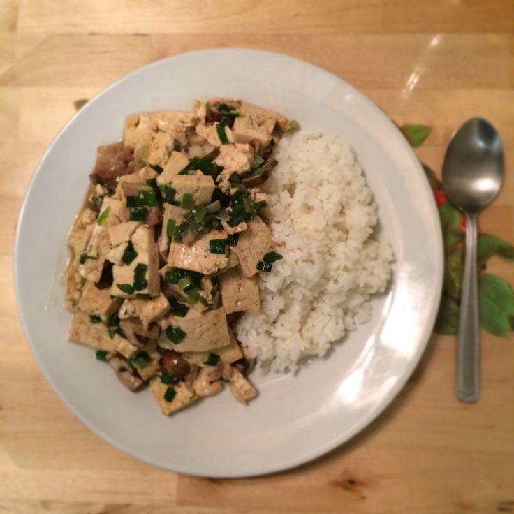 healthy #dinner stir fried tofu with mushroom, pork, and green onion ...