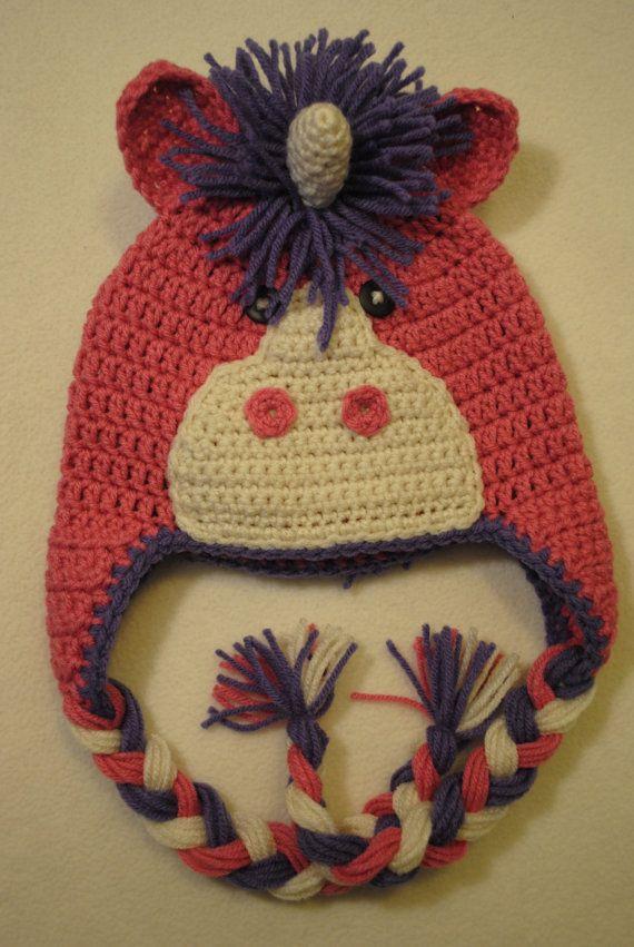 Crochet Unicorn Hat : Crochet Unicorn Hat with Earflaps by jetaimeboutique83406 on Etsy, $20 ...