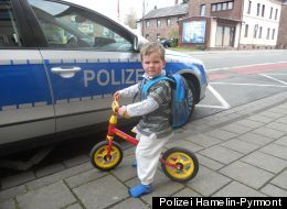 A tenacious toddler from Hamelin, Germany gave his mother a terrific shock when he bicycled across town by himself to visit his sick grandmother. Two-year-old Noah Joel's mother thought he was playing in his room when the tiny toddler gave her the slip. With his backpack filled with his favorite candy, Noah hopped on his toy bicycle and set off to see his ailing granny who is in the hospital. (Kid reminds me of me)