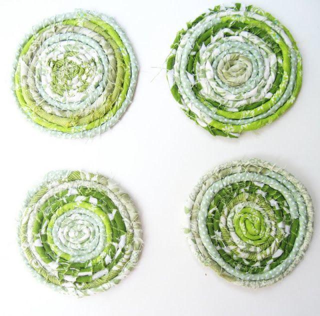 Fabric Coil Coasters : I ♥ Green! | i wanna make it | Pinterest