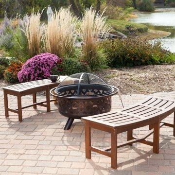 Coral Coast Cabos Curved Backless Fire Pit Bench Java Brown Www