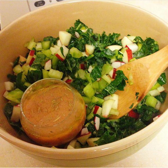 Chopped kale, radish, celery, nectarine, and heirloom tomato salad ...