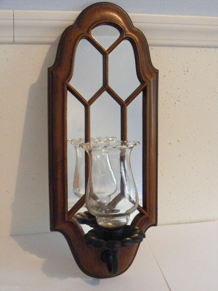 Wood And Glass Candle Wall Sconces : Vintage 18x7 faux wood metal mirrored wall sconce candle holder glass?