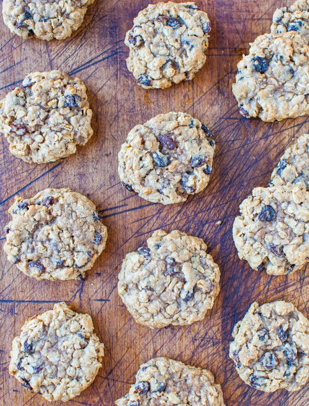 Thick and Chewy Oatmeal Raisin Cookies averiecooks.com