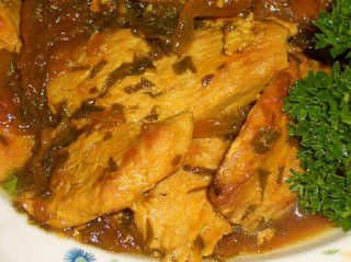 Recipe for Saffron Chicken with Parsley and Lemon from Kalyn's Kitchen