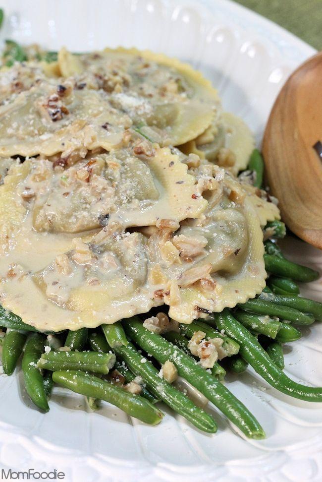 Mushroom Agnolotti and Green Beans in Creamy Walnut Sauce #recipe # ...