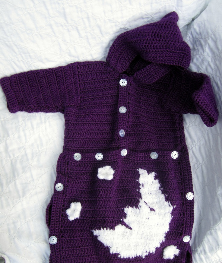 Crochet Moon and Stars Baby Bunting Sleeping Bag