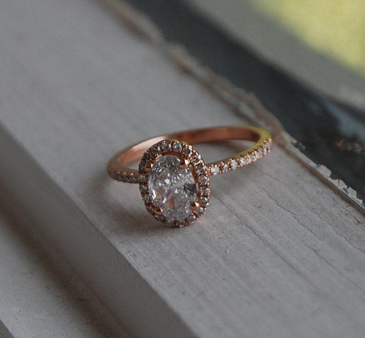 0 7ct White Oval Diamond D VS2 14k rose gold ring engagement ring dia…