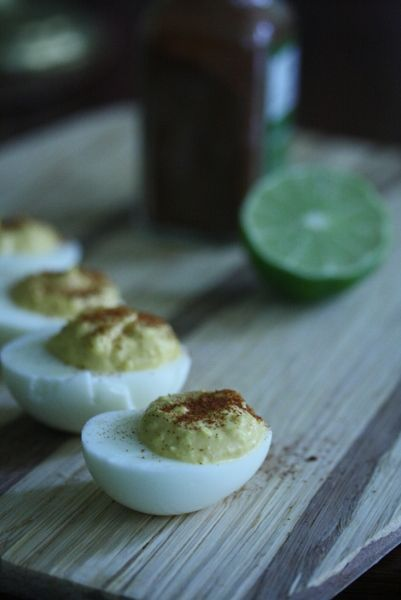 Deviled eggs with lime and sriracha | ubstitute mayonnaise with ...