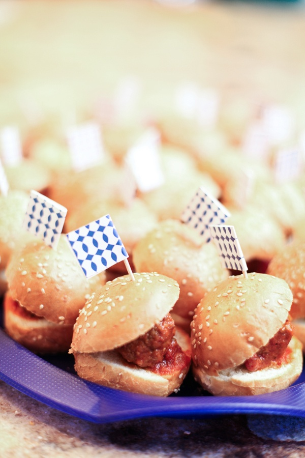 Mini meatball sandwiches. | MOM'S SURPRISE 90TH 'YANKEES' BIRTHDA...