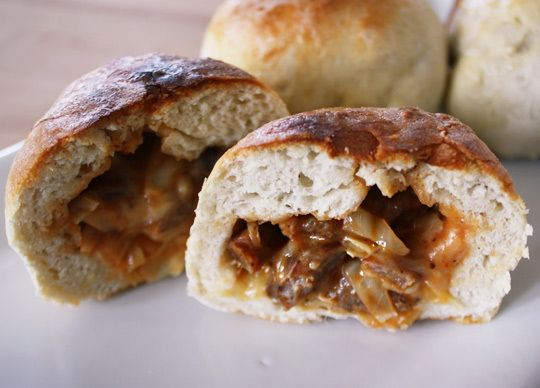 BBQ cabbage and sausage stuffed sandwiches... maybe make a switch for ...