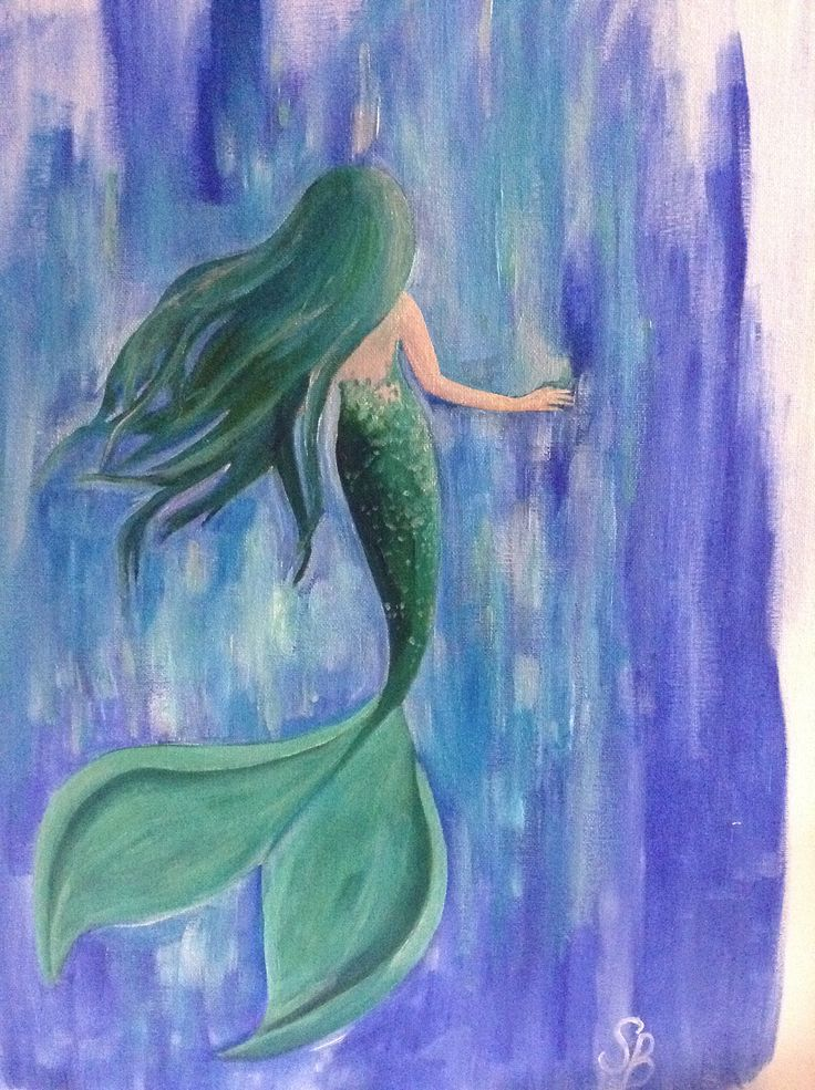mermaid acrylic painting canvas painting i want to do