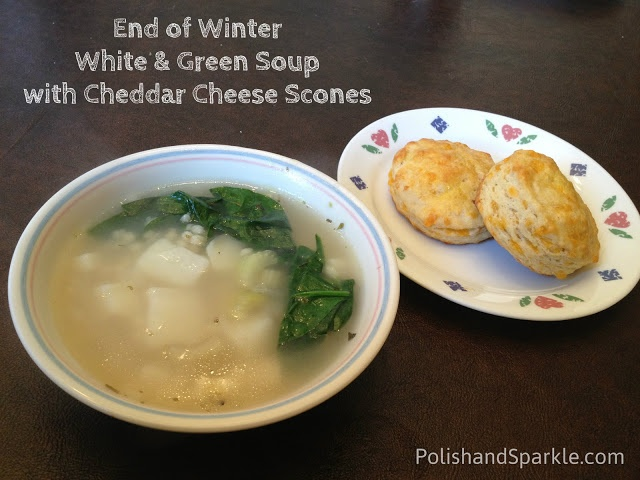 End of Winter White & Green Soup with Cheddar Cheese Scones #food