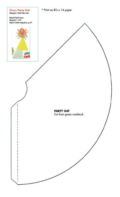 Free Party Hat Pattern Download Pattern Template Pinterest