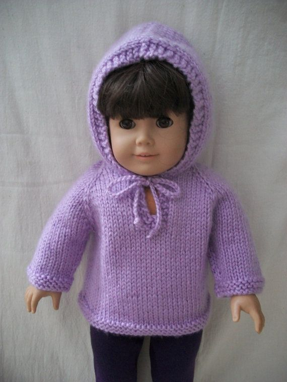 Knitting Pattern For Dolls Hoodie : PDF Knitting Pattern for American Girl or 18