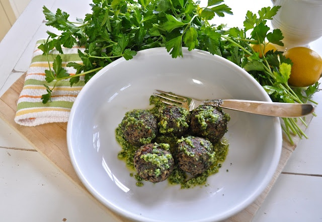 "Marin Mama Cooks: lentil ""meatballs"" with lemon pesto"