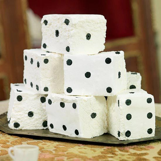 Marshmallow dice from the BH Halloween Alice in Wonderland party - some really cute food ideas, including playing card sandwiches