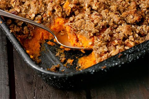 Mashed sweet potato casserole with bourbon and pecan streusel topping ...