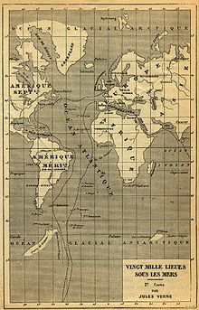 Nautilus's route through the Atlantic