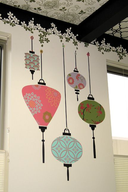 Chinese Lanterns Wall Murals DIY