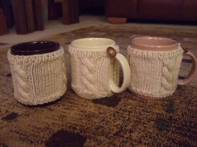Knitting Gifts : Aran mug cosies Working With Hands Pinterest