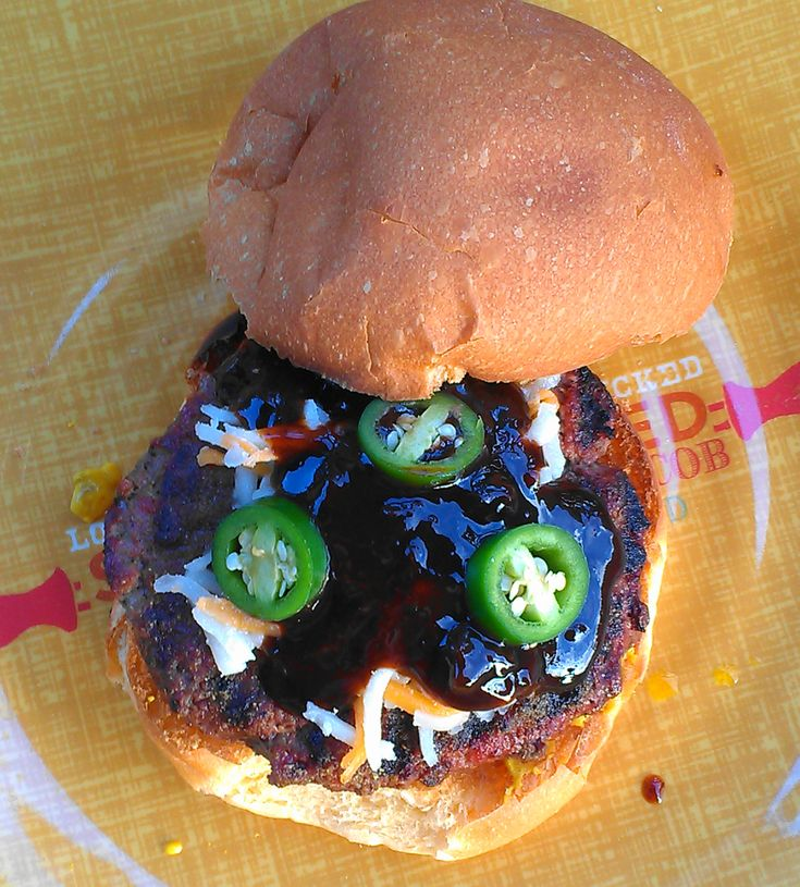 grilled burger with green chile rub, fresh jalapenos, cheese and a ...