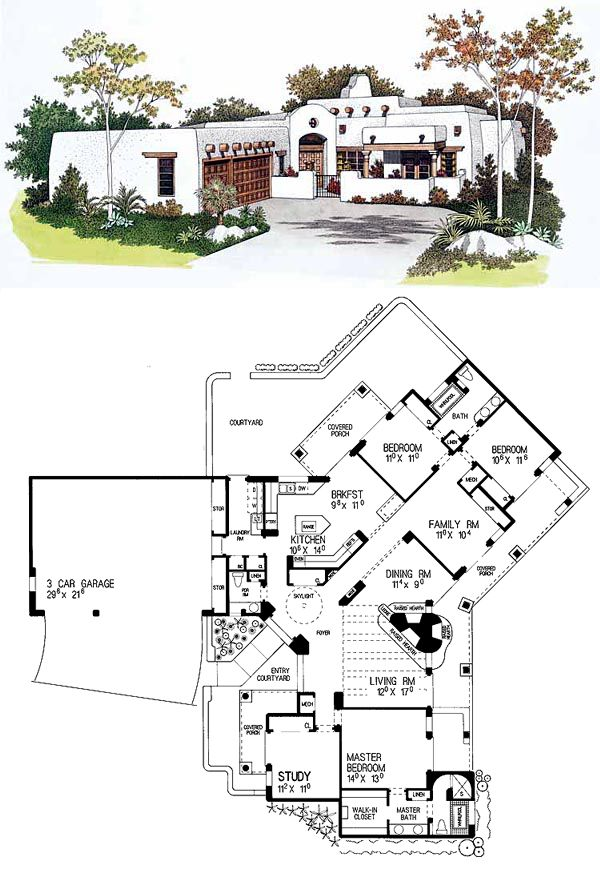 Santa Fe Southwest House Plan 99276