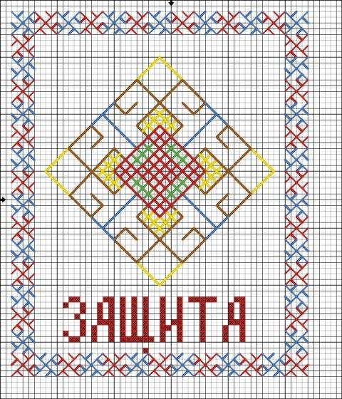 Схема вышивки крестом обереги для дома 90