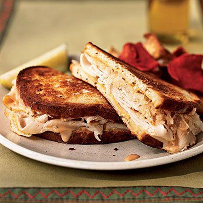 Turkey Reuben grilled cheese sandwiches. Each sandwich has just 255 ...