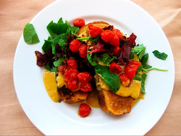Welsh Rarebit with Prosciutto, Tomatoes, and Spinach | Recipe