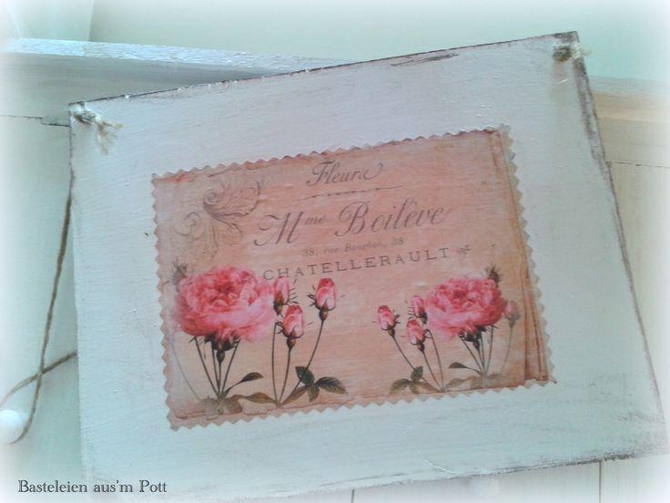 shabby schild vintage roses bild wanddeko von basteleien. Black Bedroom Furniture Sets. Home Design Ideas