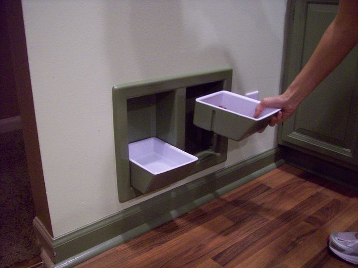 Dog dishes!!  No more taking up space on the floor.  No more kicking or tripping over the bowls.  No more dust or dirt accumulating around the bowls. No more bowls being dragged around by the pet.  No more neck strain for your pet.      No more picking up bowls to sweep or mop. (I would tile all around them on the wall as the water will slop everywhere.)