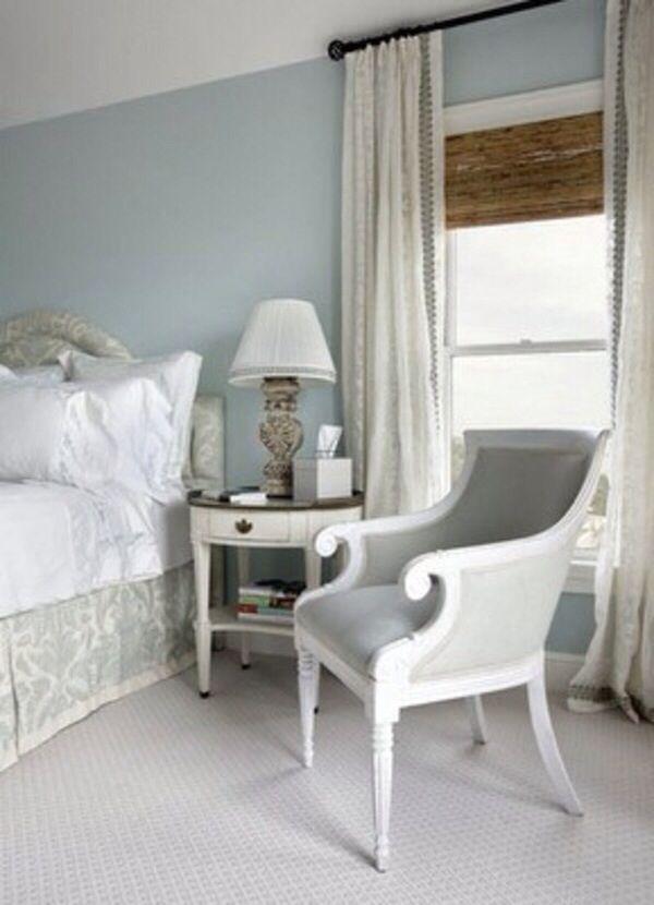 Blue White Cream Grey Bedroom