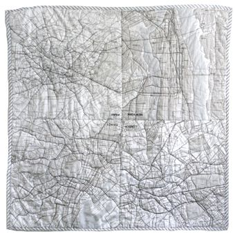 THE SMALL OBJECT, MAP QUILT: featuring london, paris, nyc, and tokyo - made from muji city-map handkerchiefs!