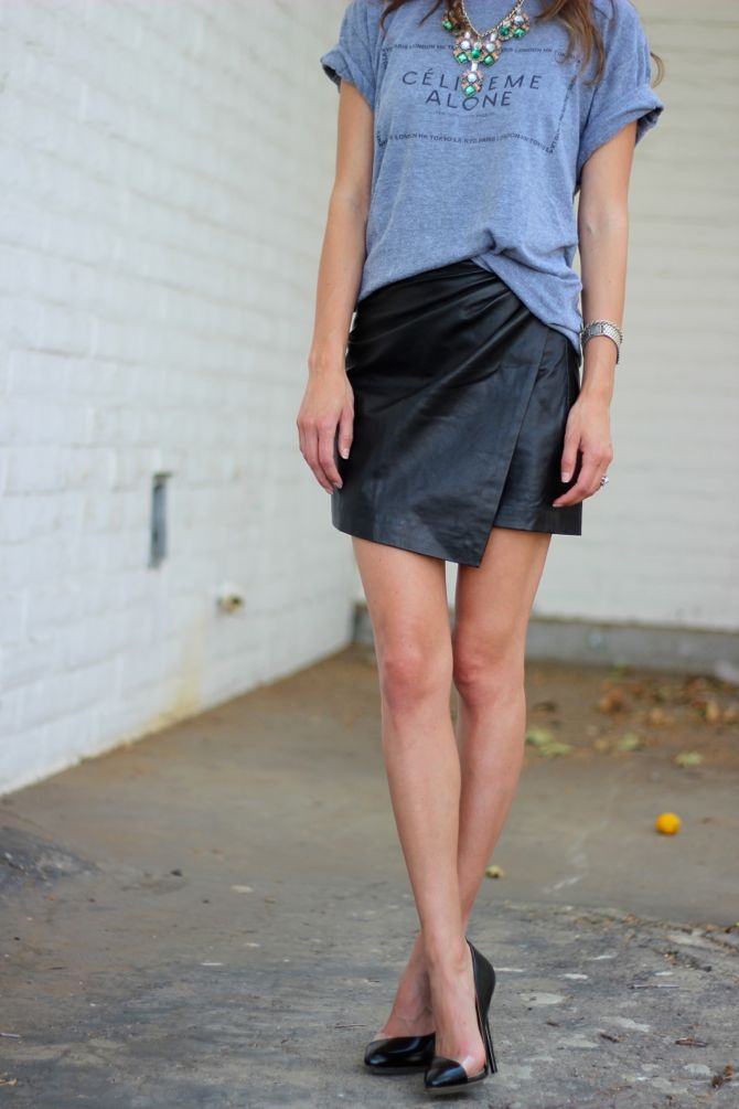 leather skirt and tshirt