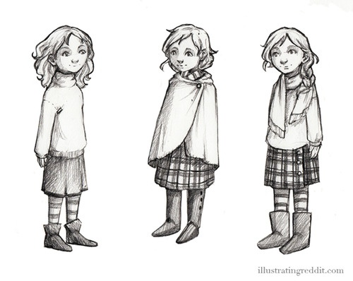 "Three possible character designs for ""The Girl"", for a children's book based on my Dragons Hatching illustration."