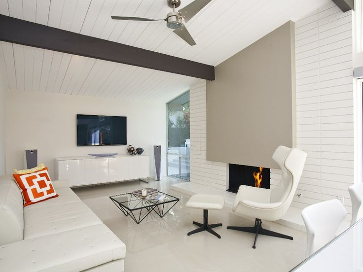 Cozy Living Room With Fireplace Los Angeles Home Staging Mid Cent