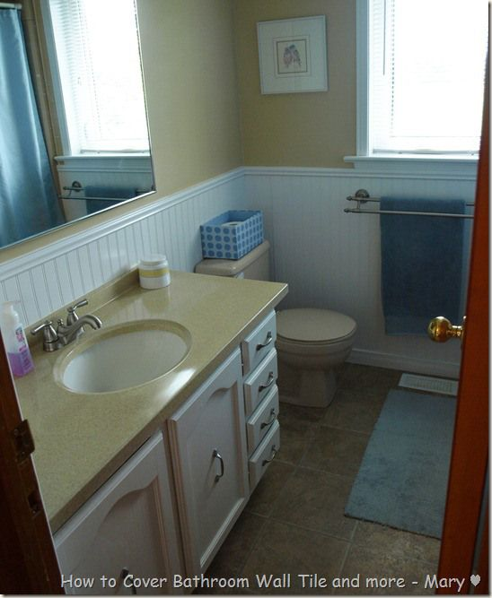 Helpful Budget Friendly Idea To Cover Up Fugly Tile In A Bathroom