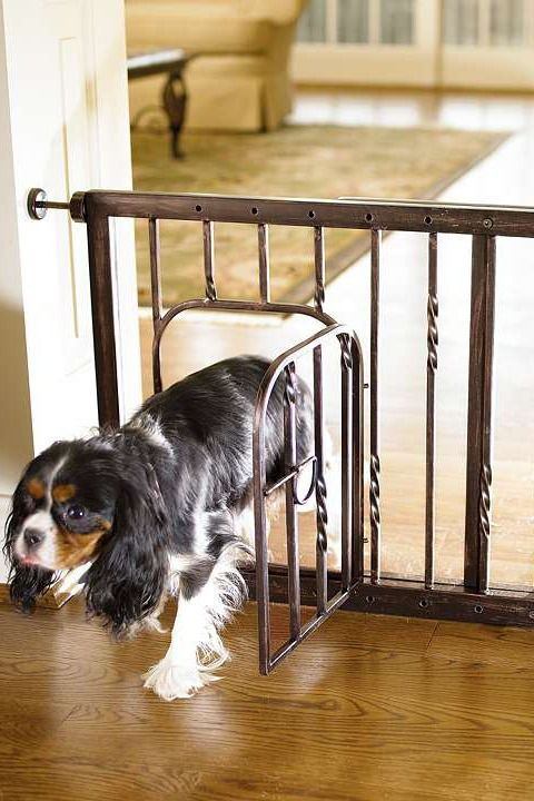 Stylishly restrict your pet's access in your home with the 21-inch Expanding Tension Mount Pet Gate; with a small door to easily allow access when you want.