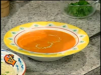... roasted red pepper soup with chicken stock and a cilantro cream