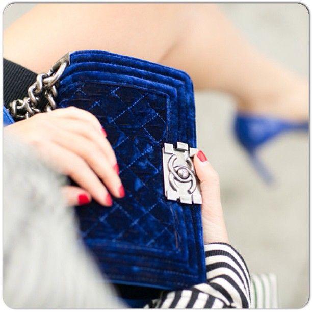 Blue Chanel Handbag #velvet