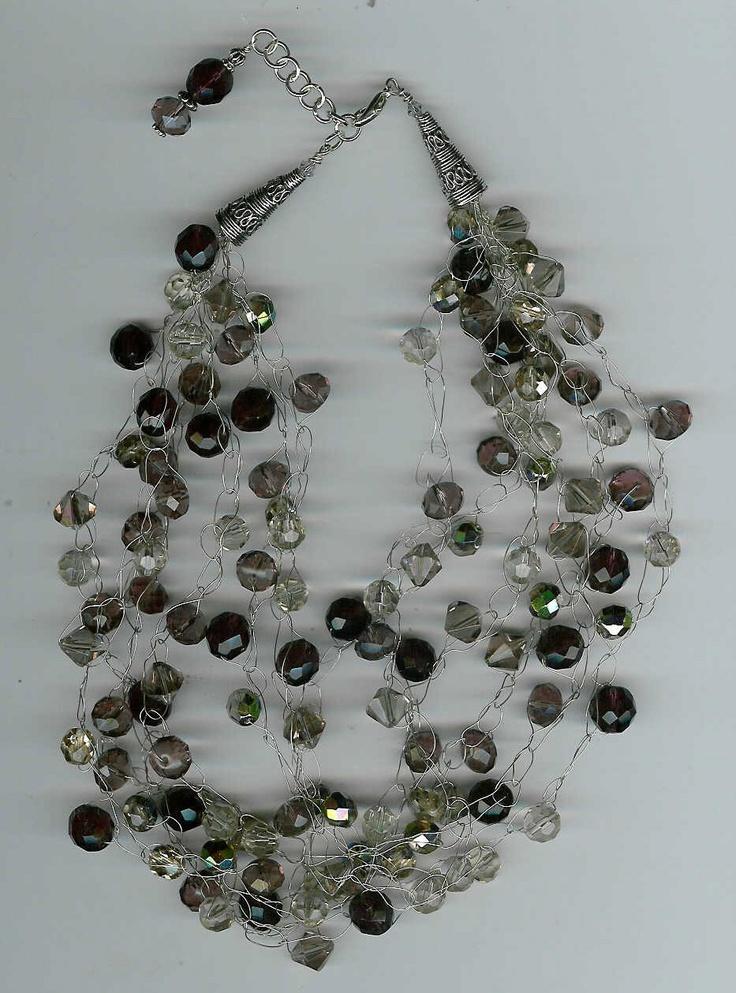 Wire Crochet : Wire Crochet Necklace 020 ( CROchet Jewelry --*--*-- Pinterest
